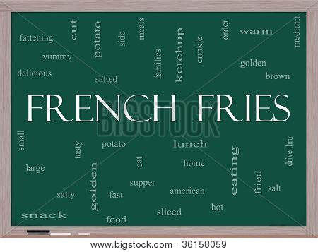 French Fries Word Cloud Concept On A Blackboard