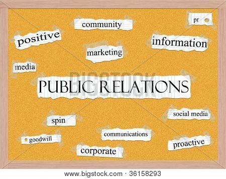 Relaciones públicas Corkboard palabra concepto