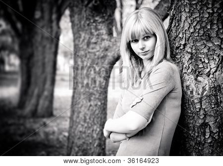 Black And White Autumn Portrait