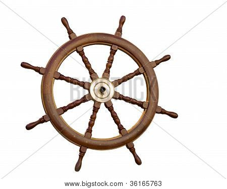 The Sea Steering Wheel Isolated On The White.