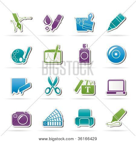Graphic and web design icons