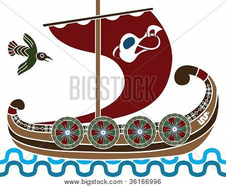Ancient vikings ship with shields