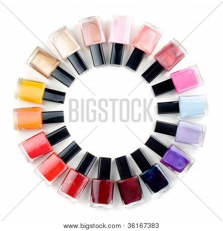 Coloured Nail Polish Bottles Stacked Circle
