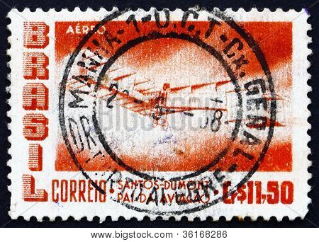 Postage stamp Brazil 1956 Santos - Dumont 1906 Plane