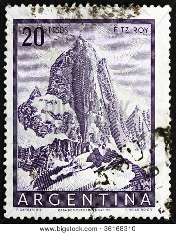Postage stamp Argentina 1955 Mt. Fitz Roy, Mountain in Patagonia