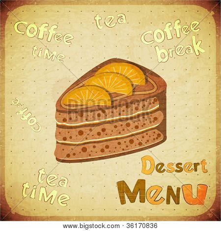 Vintage Cafe Or Confectionery Dessert  Menu
