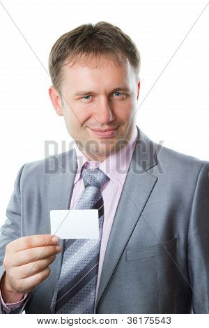 Portrait Of Handsome  Business Man With Blank Card Isolated On White Background  Studio Shot  More O