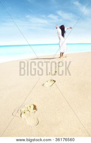 Carefree Woman With Footprint