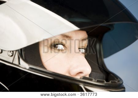 Hispanic Woman With A Motorcycle Helmet