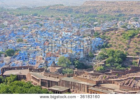 Blue Houses Of The Hindu Brahmin Caste, Jodhpur, Rajasthan