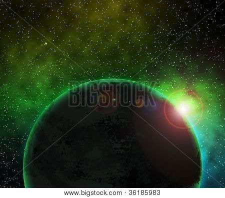 Green Planet Space Background
