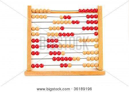 Close-up Of An Euro Symbol On An Old Abacus