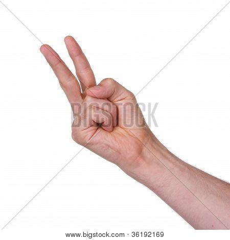 Man Making A Rude 'v' Sign