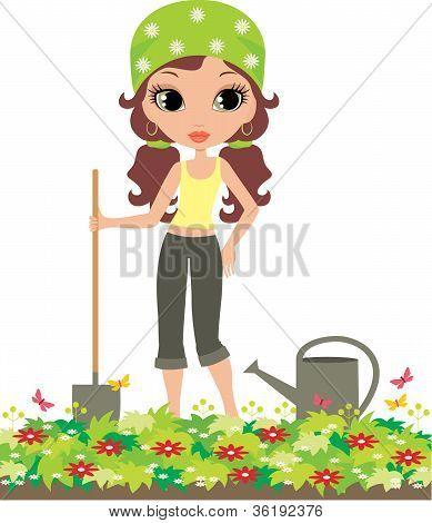 Girl The Gardener On A White Background
