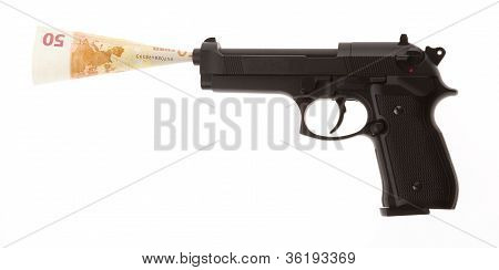 Semi-automatic Gun With 50 Euro Isolated