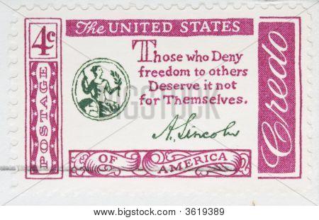 Vintage 1960 Canceled Us Postage Stamp Abraham Lincoln Credo