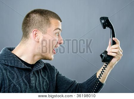 Pissed Man Yelling On Phone