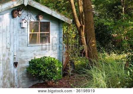 Blue Old Garden Shed