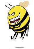 image of hornets  - Evil bee or  hornet  cartoon a white background - JPG