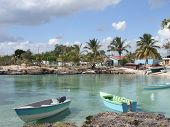 stock photo of greater  - coastal scenery at the Dominican Republic a island of Hispanola wich is a part of the Greater Antilles archipelago in the Carribean region - JPG