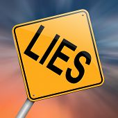 stock photo of tell lies  - Illustration depicting a roadsign with a lies concept - JPG
