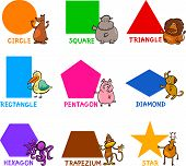 stock photo of trapezoid  - Cartoon Illustration of Basic Geometric Shapes with Captions and Animals Comic Characters for Children Education - JPG