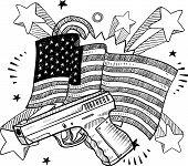 Постер, плакат: Америка любит пушки эскиз