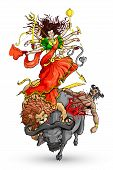 stock photo of durga  - vector illustration of goddess Durga killing Mahishasura - JPG