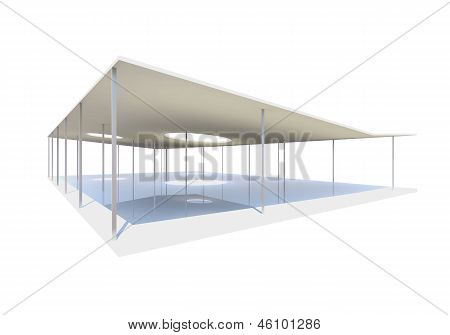 Conceptual Modern Building With Column On White
