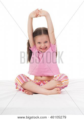 cheerful girl in sleepwear wake up