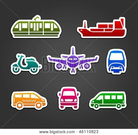 Set of stickers, transport color signs