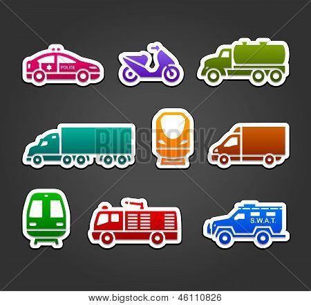 Set of stickers, transport color symbols