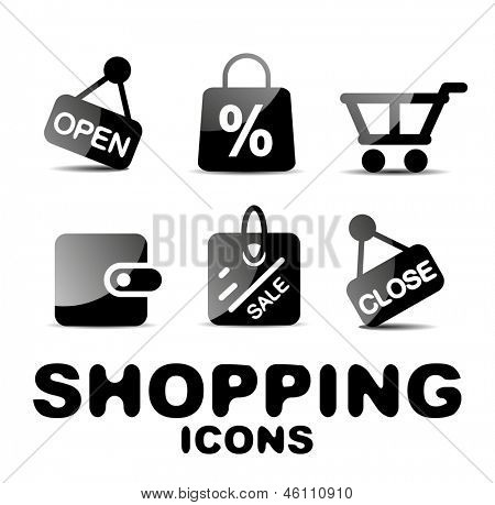 Black vector glossy shopping icon set