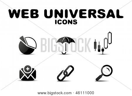Black vector glossy web universal icon set