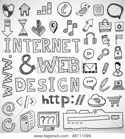 Internet and web design hand drawn vector doodles