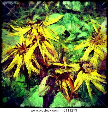 art grunge autumn floral vintage background