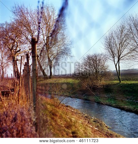 Spring Autumn Fence Nature Trauquil Scene Stream Trees