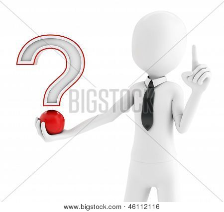 3D Man With Red Question Mark