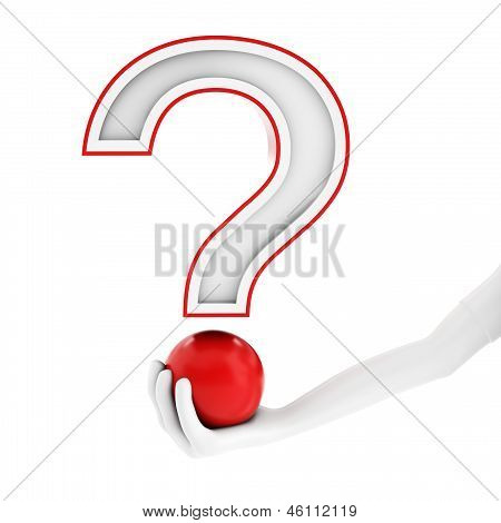 3D Jand With Red Question Mark