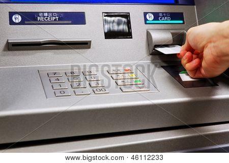 insert card in a ATM machine