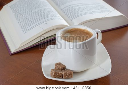 The Book And Cup From Coffee