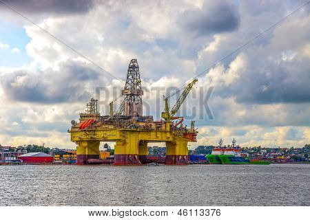 Oil Rig A Cloudy Day