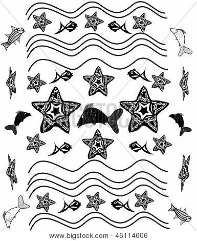 Black And White Background With Starfish, Waves, Fish In The Style Of Tattoos