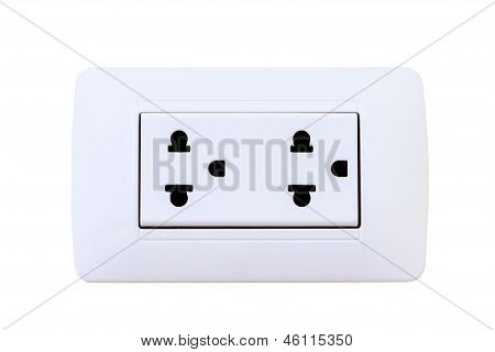 Thailand Electrical Outlet Isolated On A White