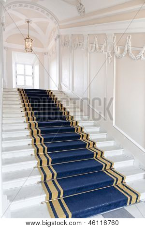 Stairwell in the Polish palace. Royal castle in Warsaw on