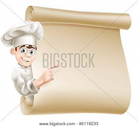 Cartoon Chef And Menu