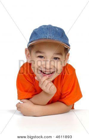 Smiling Boy With Denim Hat