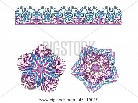 guilloche, spirograph ornamental border and pattern