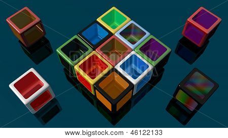 Large wallpaper with colored boxes