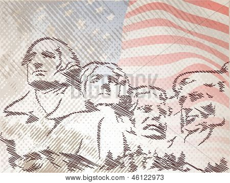Vintage 4th of July, American Independence Day background with faces of citizens on waving flag background.
